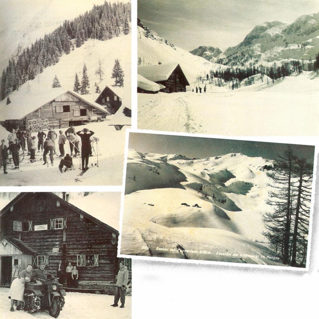 Erste Skifahrer in Zauchensee
